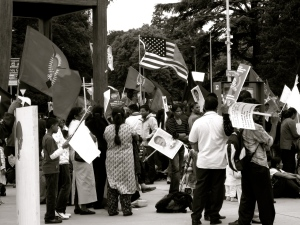 A mob of Laotians outside of the United Nations protesting government hostility.