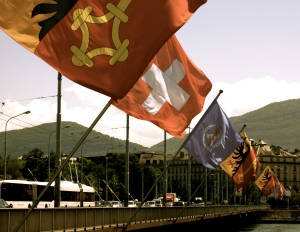 These are the flags of Geneva, Switzerland, and the Borough in which Geneva is situated. The span across the Mont Blanc bridge.